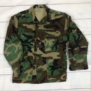 Vintage 80s Army Woodland Camo Fatigues Military